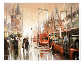 Premium poster  Oxford Street in the rain - Johnny Morant