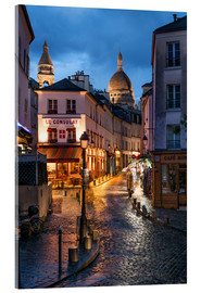 Acrylic print  Street in Montmartre with Basilica of Sacre Coeur, Paris, France - Jan Christopher Becke