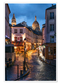 Premium poster  Street in Montmartre with Basilica of Sacre Coeur, Paris, France - Jan Christopher Becke