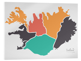 Acrylic print  Iceland map modern abstract with round shapes - Ingo Menhard