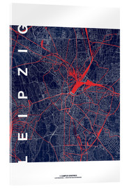 Acrylic print  Leipzig Map Midnight city - campus graphics
