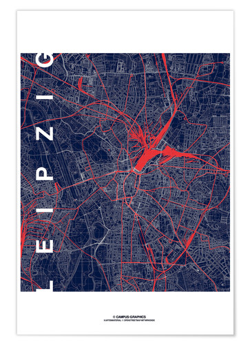 Premium poster Leipzig Map Midnight city