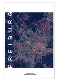 Premium poster Freiburg Map Midnight City
