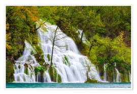 Premium poster Spring at the waterfalls of Plitvice