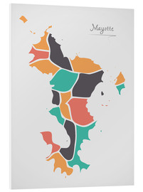 Foam board print  Mayotte map modern abstract with round shapes - Ingo Menhard