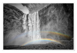 Premium poster ICELAND Skogafoss with a double rainbow
