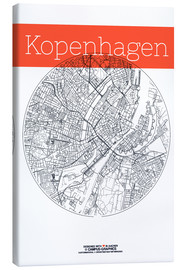 Canvas print  Copenhagen map city black and white - campus graphics