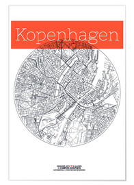 Premium poster  Copenhagen map city black and white - campus graphics