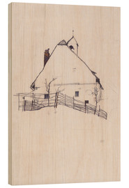 Wood print  Residential house with fence - Egon Schiele
