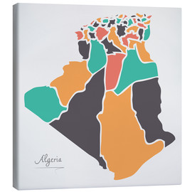 Canvas print  Algeria map modern abstract with round shapes - Ingo Menhard