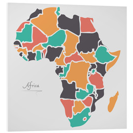 Foam board print  Africa map modern abstract with round shapes - Ingo Menhard