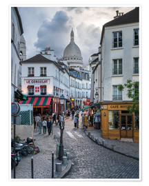 Premium poster  Streets of Montmartre and Sacre Coeur - Jan Christopher Becke