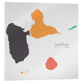 Acrylic print  Guadeloupe map modern abstract with round shapes - Ingo Menhard