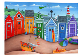 Acrylic print  Beach hut rainbow scene - Peter Adderley