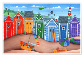 Premium poster  Beach hut rainbow scene - Peter Adderley