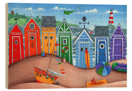 Wood print  Beach hut rainbow scene - Peter Adderley