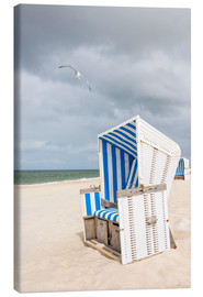 Canvas print  Seagull and beach chair, Sylt