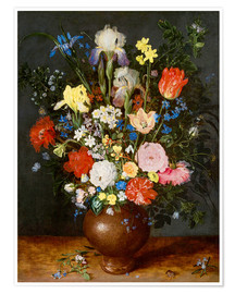 Premium poster Bouquet of flowers in clay vase