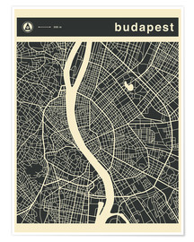 Premium poster  Budapest City Map - Jazzberry Blue