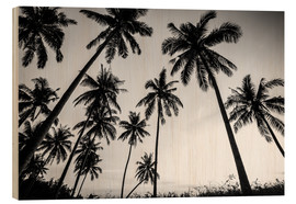 Wood print  Silhouettes of palm trees