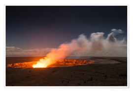 Premium poster  Active Kilauea Volcano under starry Sky, Big Island, Hawaii - Markus Ulrich