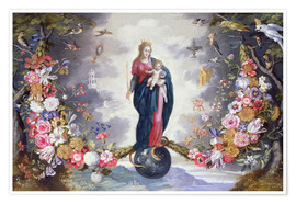 Premium poster The Virgin and Child surrounded by a garland