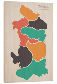 Wood print  Duisburg city map modern abstract with round shapes - Ingo Menhard