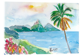 Acrylic print  St Lucia Caribbean Dreams With Sunset and Pitons Peaks - M. Bleichner