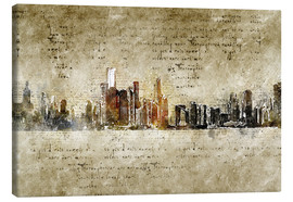 Canvas print  Chicago skyline in modern abstract vintage look - Michael artefacti
