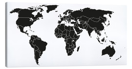 Canvas print  World map black and white