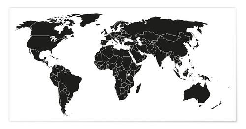 the world map black and white World Map Black And White Posters And Prints Posterlounge Ie
