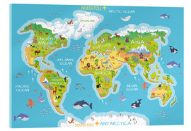 Acrylic print  World map with animals - Kidz Collection
