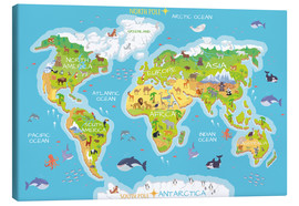 Canvas print  World map with animals - Kidz Collection