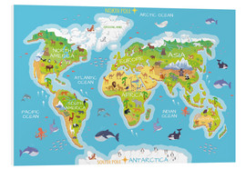 Foam board print  World map with animals - Kidz Collection