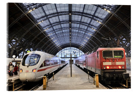 Acrylic print  ICE and InterRegio trains in the central station