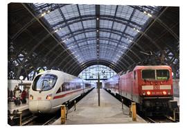 Canvas print  ICE and InterRegio trains in the central station