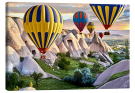 Canvas print  Balloons over the Tuff Rock of Turkey