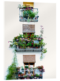 Acrylic print  Facade with balconies full of flowers in Valencia