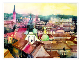 Premium poster Graz, view to the cathedral