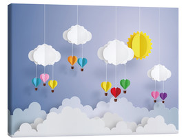 Canvas print  Balloon ride in the clouds - Kidz Collection