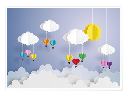 Premium poster Balloon ride in the clouds