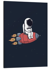 Aluminium print  Little astronaut with rocket - Kidz Collection
