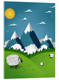 Acrylic print  Paper landscape with sheep - Kidz Collection