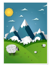 Premium poster  Paper landscape with sheep - Kidz Collection