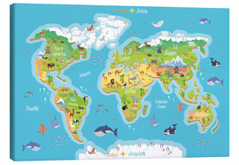 Canvas print  World map for children (German) - Kidz Collection