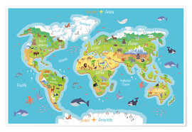Premium poster World map for children (German)
