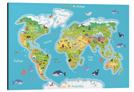Aluminium print  World map for children (French) - Kidz Collection