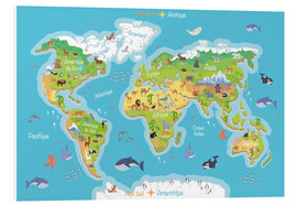 Foam board print  World map for children (French) - Kidz Collection