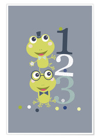 Premium poster  Frogs playing with numbers - Jaysanstudio