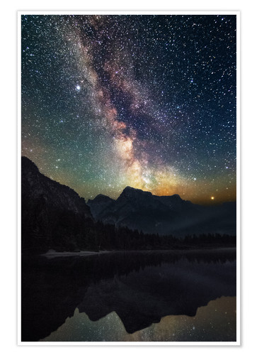 Premium poster Milky Way over the mountains